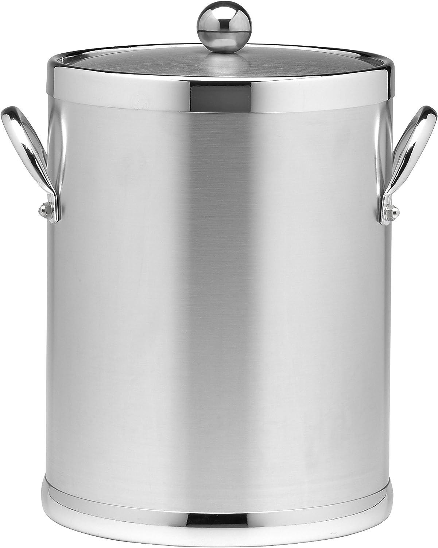 Kraftware 70442 Americano 5 Qt Ice Bucket In Brushed Chrome Kitchen Dining Amazon Com