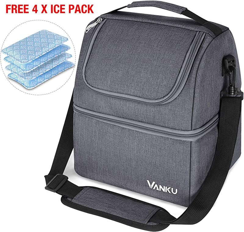Vanku Insulated Lunch Bag For Men Adult Lunch Box Cooler Tote Bag For Women Reusable Lunch Container With Ice Packs For Work Meal Prep Travel Gray