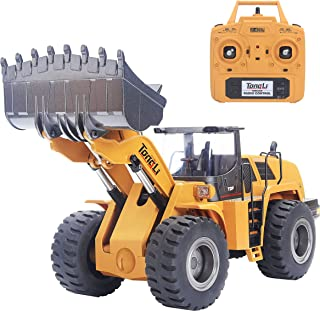 TongLi 583 1:14 Scale Metal RC Wheel Loader Toy Construction Trucks Vehicles Remote Control Outdoor Toys Bulldozer for Adults 2.4Ghz Powerful Upgraded with LED Lights and Simulation Sound