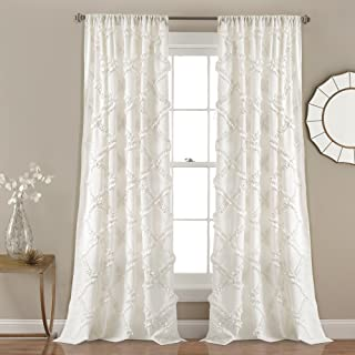 "Lush Decor Ruffle Diamond Curtains Textured Window Panel Set for Living, Dining Room, Bedroom (Pair), 84"" x 54"", White, 84"