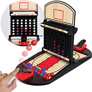 SHARPER IMAGE 4 in a Row Launching Game, Play Head-to-Head Against a Friend, Shootout-Style Play, 2-Player Portable Board Game Toy for Kids and Adults Age 8+