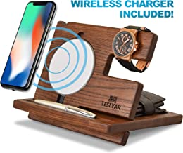 Wood Phone Docking Station Ash Key Holder Wallet Stand Watch Organizer Men Gift Husband Wireless Charging Pad Slim Birthday Nightstand Purse Tablet Compatible with All Qi Devices (White)