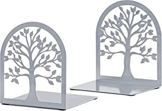 MAXFOUNDRY Bookends Decorative, Tree of Life Book Ends, Metal Bookends, Silver Book Ends, Bookends for Shelves, Book Ends ...