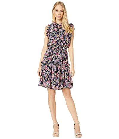 Nicole Miller Ruffle Floral Dress (Navy Multi) Women