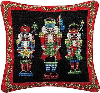 Peking Handicraft Nutcracker Pageantry Needlepoint Christmas Pillow 16x16 Inch, 1 Each