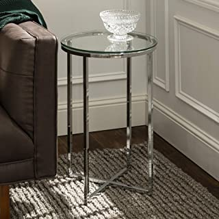 WE Furniture AZF16ALSTGCR Modern Round Side End Accent Table Living Room, 16 Inch, Glass, Silver