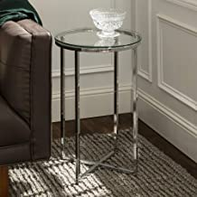 WE Furniture Modern Chic Round Side Table/Sofa Table/Nightstand for Living Room or Bedroom, Tempered Safety Glass Chrome, ...
