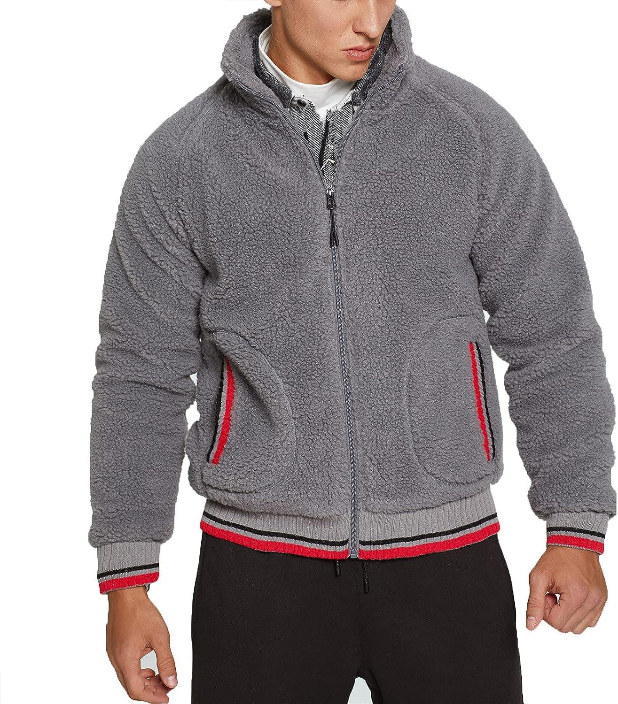 Mens Winter Loose Warm Lamb Wool Coat,Men's Full Zip-up Cardigan Sweater,Cozy Solid Cashmere Outwear