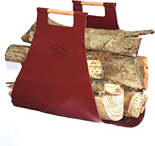 Beville Gardens Lug-A-Log Wood Carrier Tote for Fireplaces, Camping, Cabins, and Bonfires! Extra Large, Strong & Rugged for Easy Carrying from Woodpile to Fire, Plus Storage Bag!