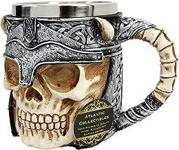 Ebros Viking Horned Demon Warrior Skull With Battle Helmet Mug Beer Stein Tankard Coffee Cup