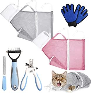 Trosetry Cat Bathing Bag Set, 7 Pack Pet Shower Net Bags with Pet Nail Clippers Dog Grooming Gloves Anti-Bite and Anti-Scr...