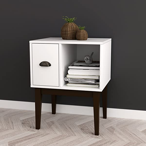 White Espresso Nightstand Side End Table With Drawer