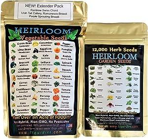 Heirloom Seeds Combo Pack Veggie and Herbs Packs - Medicinal and Cooking Herb Seeds 22 Varieties and Fruit Vegetables 32 Varieties for Your Garden