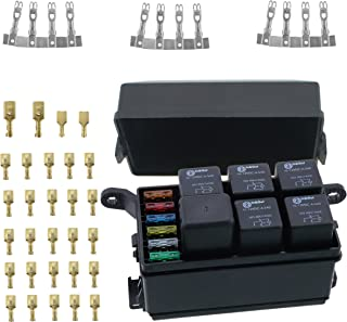 Iztoss 12-Slot fuse Relay Box [6 Relays] [6 Blade Fuses] with 12V 40A relays,fuses and Metallic Pins for Automotive and Marine Use