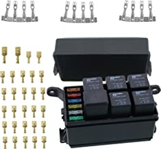 12-Slot Relay Box 6 Relays 6 Blade Fuses - Fuse Relay Box including fuses,4pins 12V 40A relays and Metallic Pins for Automotive Marine and boat