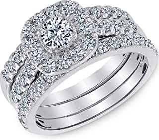 Beverly Hills Jewelers 1.00 Carat Total Weight IGI Certified Diamond Engagement Ring in 14 Karat White Gold (I-J Color, I1-I2 Clarity) SIZABLE