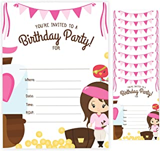 With Envelopes Boys Girls Kids Party Pirate Girl Style 2 Happy Birthday Invitations Invite Cards 10 Count 10ct