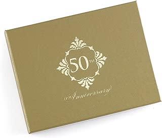 Hortense B. Hewitt 55166 Golden 50th Anniversary Guest Book, 7.5 x 5.75-Inches, Gold