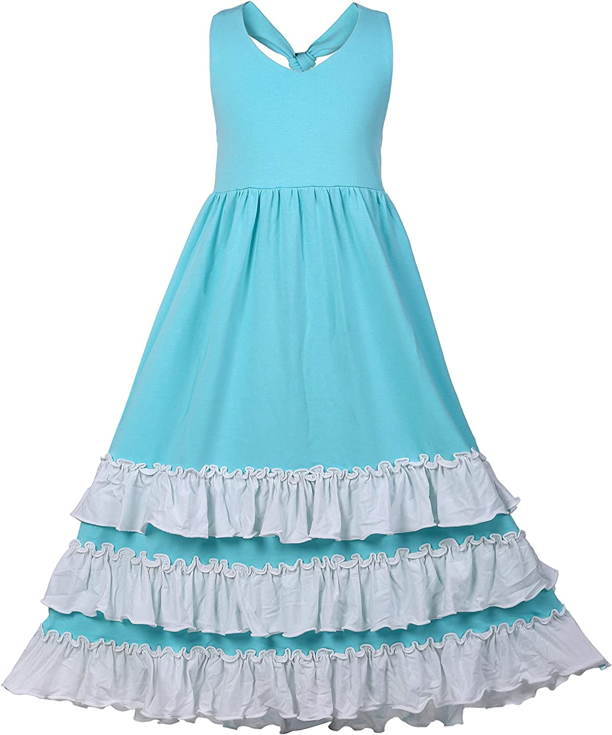 Girls Ruffles Maxi Dress Pink Color Halter Lace Fly Sleeve Cotton Party Dress Skirts