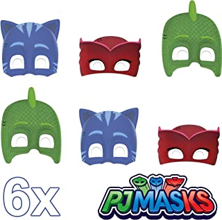 Procos 89351 Generique- PJ Mask Cardboard Mask Costume Accessory of Childeren Pack of 6 Multi-Coloured