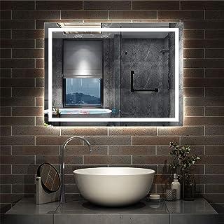 AICA sanitaire Miroir de Salle de Bain 80x60cm Anti-buée Miroir Mural avec éclairage LED modèle Carré