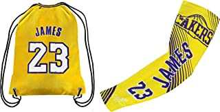 Forever Fanatics James #23 Basketball Fan Gift Set ✓ James #23 Jersey Drawstring Backpack Gym Bag & Matching Compression S...