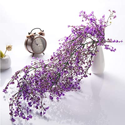 Garden Decoration 2 PCS 29.13 inch Siumir Artificial Ivy Garland Fake Flowers Wisteria Hanging Vine Plants Drooping Plants Wall Hanging Greenery Plants for Wedding,Party Purple, 74