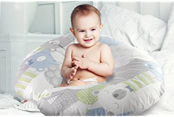 Extra-Soft Breastfeeding Baby Support Pillow w/100% Hypoallergenic Removable Slipcover   Antibacterial Newborn Infant...