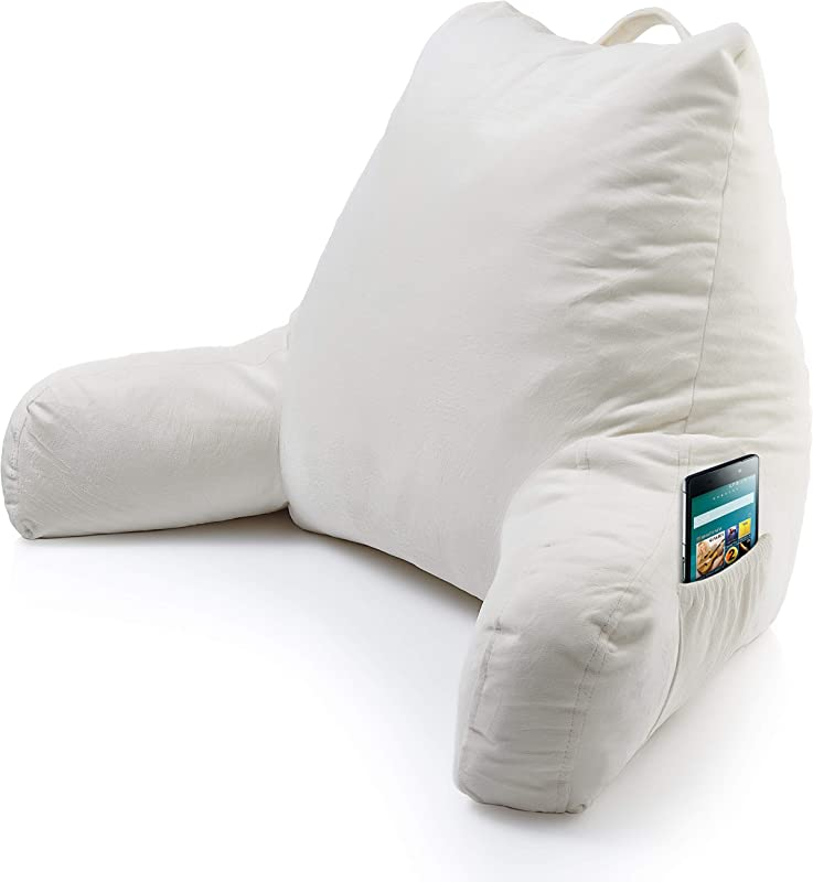 Foam Reading Pillow With Arm Pocket Read Watch TV In Comfort While In Bed Relax Without Back Pain