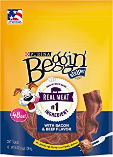 Purina Beggin' Strips Made in USA Facilities Dog Treats, Bacon & Beef Flavors - 48 oz. Pouch