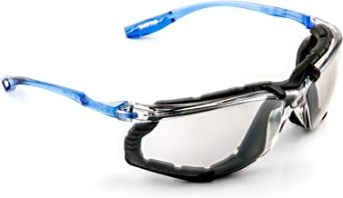 3M Safety Glasses, Virtua CCS, 1 Pair, ANSI Z87, Anti-Fog, Mirrored Lens, Blue Frame, Corded Ear Plug Control System, Removable Foam Gasket