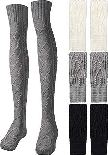 3 Pairs Women Knit Thigh High Boot Socks Over Knee Leg Socks Crochet Knitted Boots Socks Long Winter Stocking Leg Warmers ...