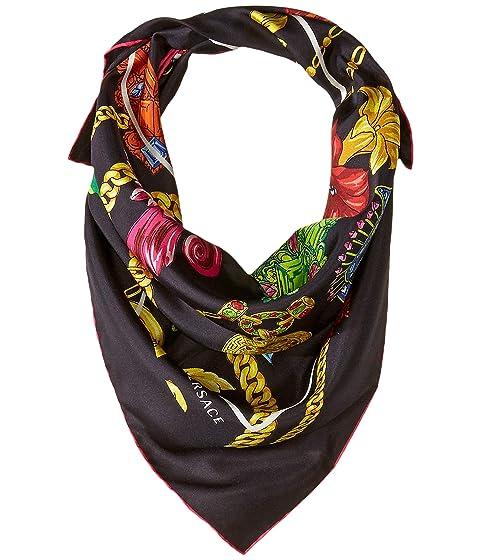 Versace Flower & Chain Silk Scarf
