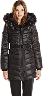 Women's Matte Satin Belted Down Coat with Faux Fur Hood