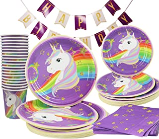 Unicorn Happy Birthday Party Rainbow Decoration Supplies Kit 141 Piece (Serves 20) Party Pack Plates Cups Napkins Banner