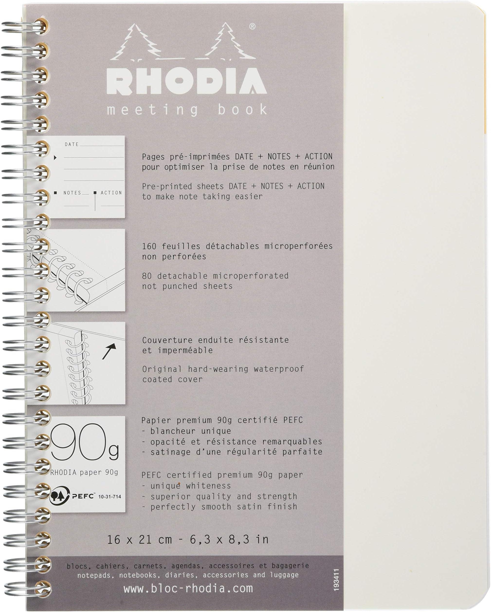 9 x 11 34 Orange Lined Rhodia Classic 4 Color Book Side Wirebound