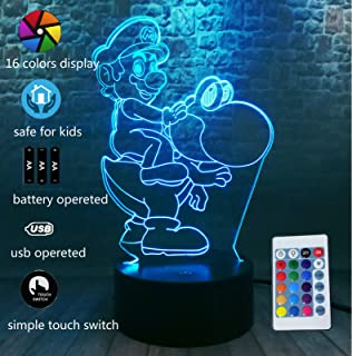 Game Cute Super Mario Bros All Star Collection Yoshi Toys Riding Dinosaur Action Figure 3D LED Smart RGB Night Light 7 Colors USB Touch Control Table Lamp Decor Home Party Kids Birthday Christmas Gift