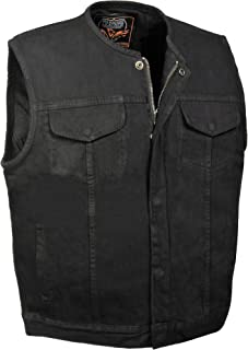 Men's SOA Collarless Denim Vest Concealed Snap w/ Hidden Zipper w/ 2 Inside Gun Pockets (XX-Large, Black)