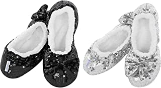 ReBL LLC Ballerina Bling Metallic Shine Kids Girls Cozy Sequin Slippers Socks & Gift Bag