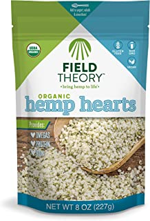Field Theory Organic Hemp Hearts, 8 oz; Shelled Hemp Seeds, Plant-Based Protein, Omegas, Vegan, Keto, Paleo, Gluten Free