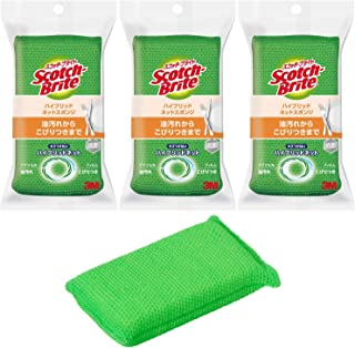3M スポンジ キッチン キズつけない 抗菌 ハイブリッドネット グリーン 3個 スコッチブライト HBNTG-3P