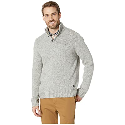 Lucky Brand Donnegal Button Mock Neck Sweater (Heather Grey) Men