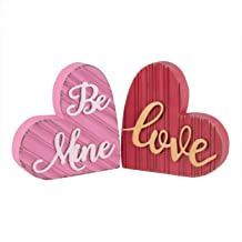 Valery Madelyn Set of 2 Decorative Love Wood Sign for Wedding, Mother's Day, Wooden Romantic Sign, Be Mine Gift Décor for Valentine's Day, Table, Party and Home Decorations