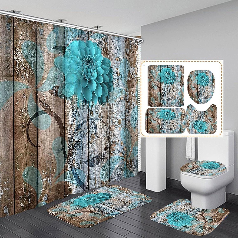 Fashion_Man 4PCS Max 85% OFF Set Rustic Teal Fabric Curtain Flower Shower Rapid rise V