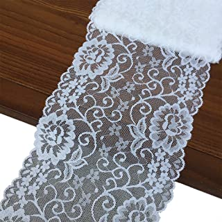 Olive Lace 6 inches Wide White Stretchy lace Ribbon Elastic Trim Fabric with Floral Pattern for Bridal Wedding Decorations, Sewing DIY Making and DIY Crafts-5 Yards (908 White)