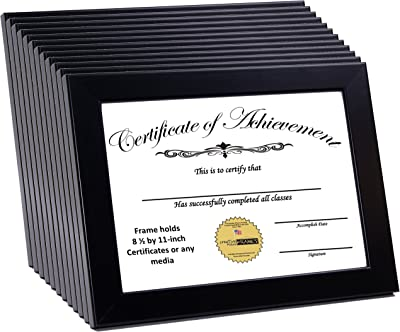 CreativePF [ZJBZ-8.5x11bk] Black Document Frame Displays 8.5 by 11-inch Certificate, Graduation, University, Diploma Frames with Stand & Wall Hanger (Pack of 12)