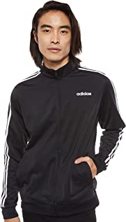 Adidas Men's Essentials 3-Stripes Tricot Track Top, Black (Black/White), Large (DQ3070)