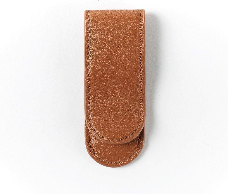 Leatherology Cognac Metal Money Clip Card Holder, Minimalist Wallet, Full Grain Leather
