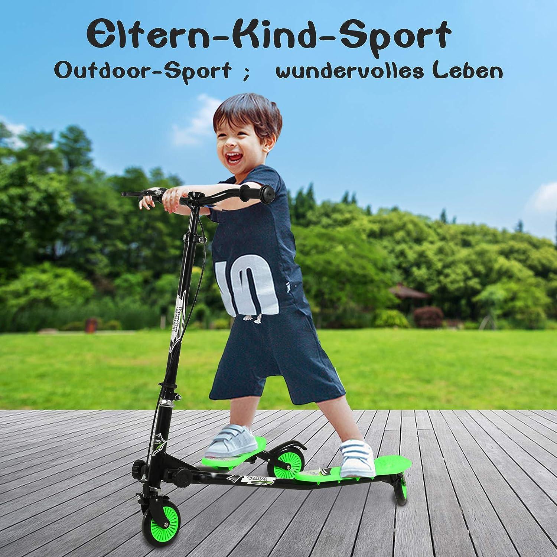 Hauteur r/églable Pour gar/çons /à partir de 5 ans et adultes Noir Pliable Uenjoy Trottinette pour enfants 3 niveaux 3 roues
