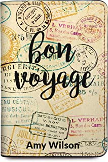 Bon Voyage Personalized Leather Passport Holder Cover - RFID Travel Wallet